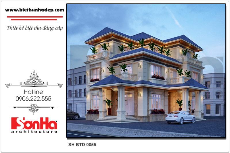 Khám phá mẫu thiết kế biệt thự 3 tầng tại Quảng Bình với kiến trúc hiện đại độc đáo nổi bật bởi hệ mái ngói xanh