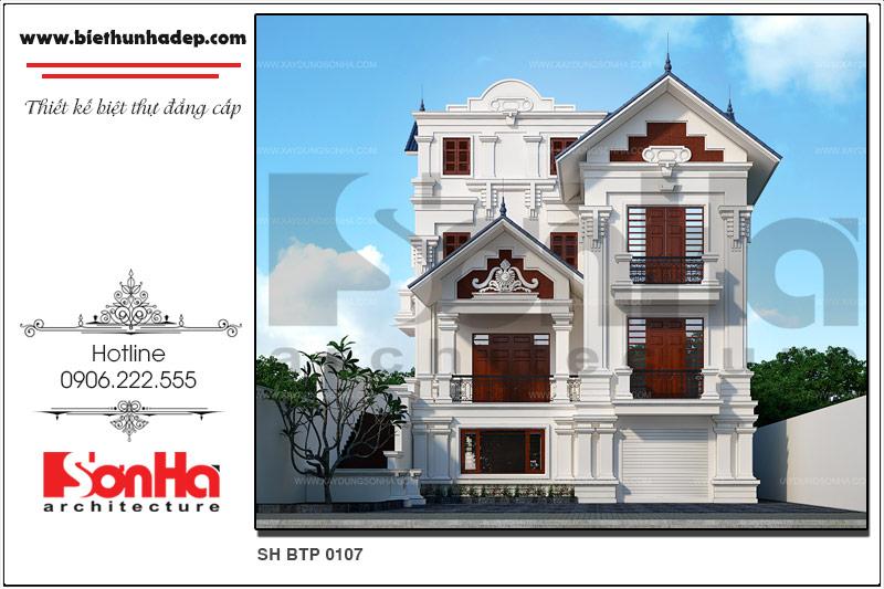 Phối cảnh kiến trúc mặt tiền của mẫu thiết kế biệt thự 3 tầng phong cách Pháp tại Quảng Ninh vô cùng khang trang