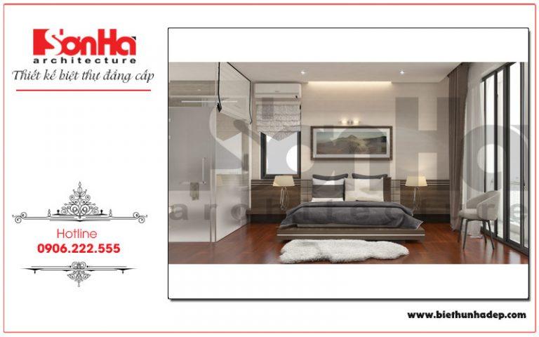 Mẫu thiết kế phòng ngủ đơn giản mang phong cách hiện đại, trẻ trung trong không gian rộng hứa hẹn sẽ mang đến những giây phút nghỉ ngơi, thư giãn thoảm mái