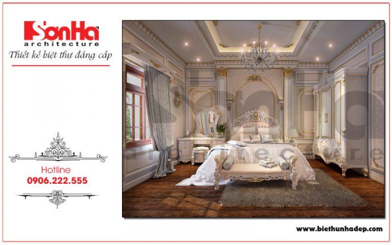 Chiêm ngưỡng không gian phòng ngủ của biệt thự phòng cách cổ điển được trang trí bằng các họa tiết tinh xảo