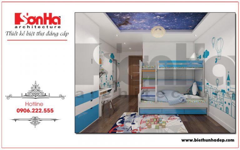 Thiết kế phòng ngủ với giường tầng tiện nghi, tích hợp góc học tập lý tưởng mang đến không gian  học tập, nghỉ ngơi cho con gái gia chủ