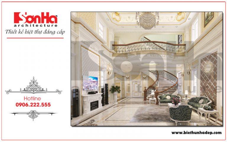 Với kinh nghiệm thiết kế nội thất lâu năm, KTS Sơn Hà đã lựa chọn những chi tiết phào chỉ để thiết kế cho không gian phòng khách của biệt thự tại Hải Phòng