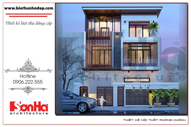 Mẫu thiết kế biệt thự hiện đại 3 tầng độc đáo và vô cùng thoáng đãng tại TP.Cẩm Phả, Quảng Ninh được chủ đầu tư vô cùng hài lòng