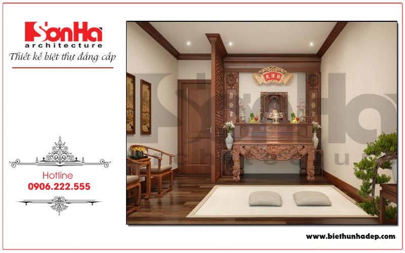 Thiết kế nội thất phòng thờ biệt thự trang nghiêm, hợp phong thủy