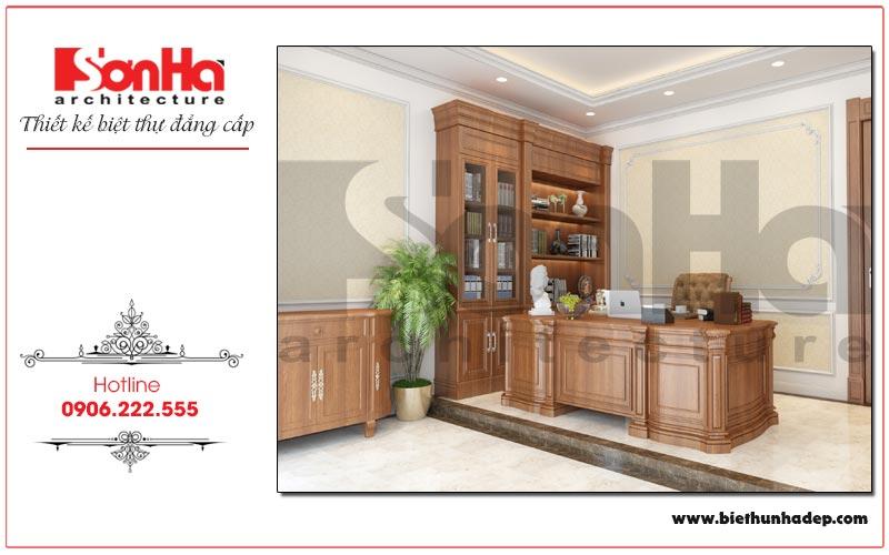 Thiết kế nội thất phòng làm việc tiện nghi cho gia chủ