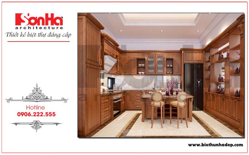 Mẫu thiết kế nội thất phòng bếp biệt thự Vinhomes Imperia với nội thất gỗ