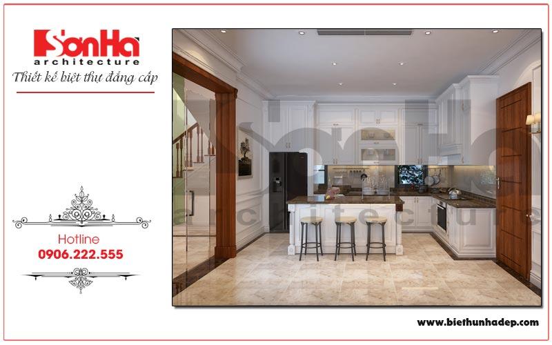 Căn phòng bếp ngôi biệt thự được thiết kế đẹp mắt với nội thất tiện nghi