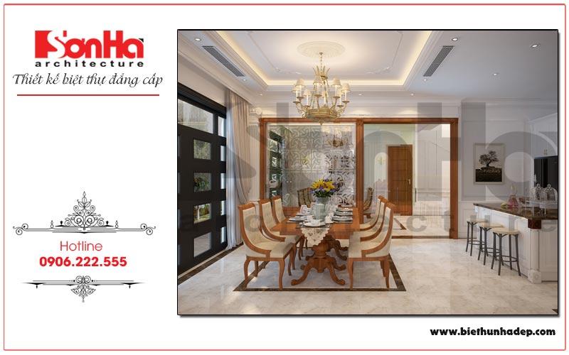 Nội thất phòng ăn ngôi biệt thự tân cổ điển được thiết kế tinh tế mang đến không gian ẩm thực lý tưởng cho cả gia đình