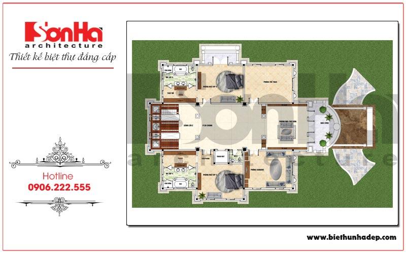 Mặt bằng công năng tầng 2 biệt thự lâu đài cổ điển mặt tiền 18,9m tại Sài Gòn