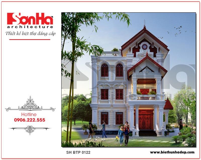 Kiến trúc mặt tiền chính ngôi biệt thự pháp 3 tầng được thiết kế với các cột trụ vuông vững chãi