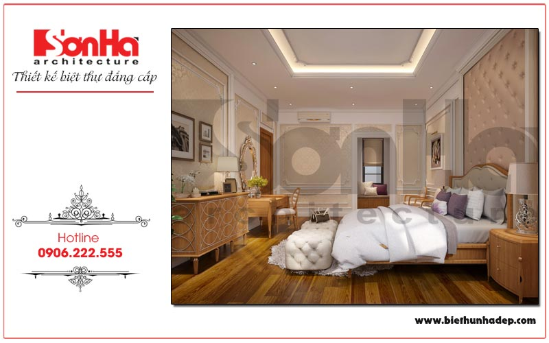 Mẫu phòng ngủ master biệt thự Vinhomes Imperia với nội thất tân cổ điển nhẹ nhàng, sang trọng