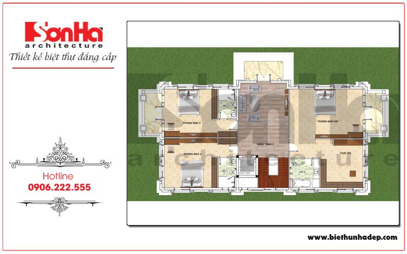 Bản vẽ chi tiết mặt bằng công năng tầng 3 biệt thự pháp mái thái đẹp tại Hưng Yên