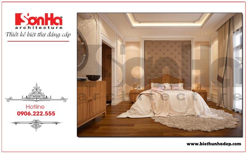 Ý tưởng thiết kế nội thất phòng ngủ biệt thự tân cổ điển với vật liệu gỗ cao cấp