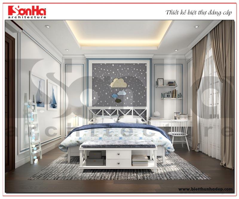 Thiết kế nội thất phòng ngủ con trai biệt thự tân cổ điển phân khu Paris