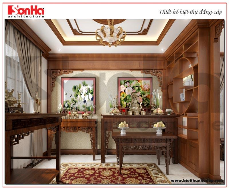Không gian phòng thờ với nội thất gỗ cao cấp thiết kế đúng phong thủy