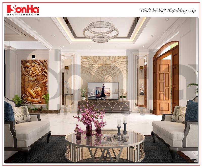 Không gian phòng khách được thiết kế đơn giản nhưng vô cùng tinh tế và có chiều sâu