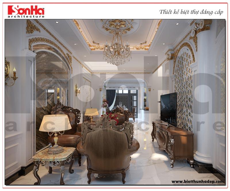 Mẫu thiết kế nội thất phòng khách biệt thự tân cổ điển Vinhomes Imperia đẹp mắt
