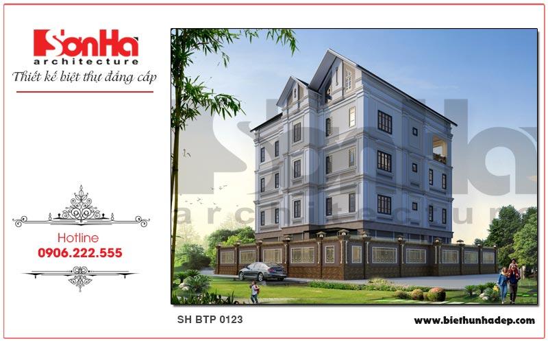 Phương án thiết kế kiến trúc mặt sau ngôi biệt thự nhà vườn 4 tầng siêu đẹp tại Hải Phòng
