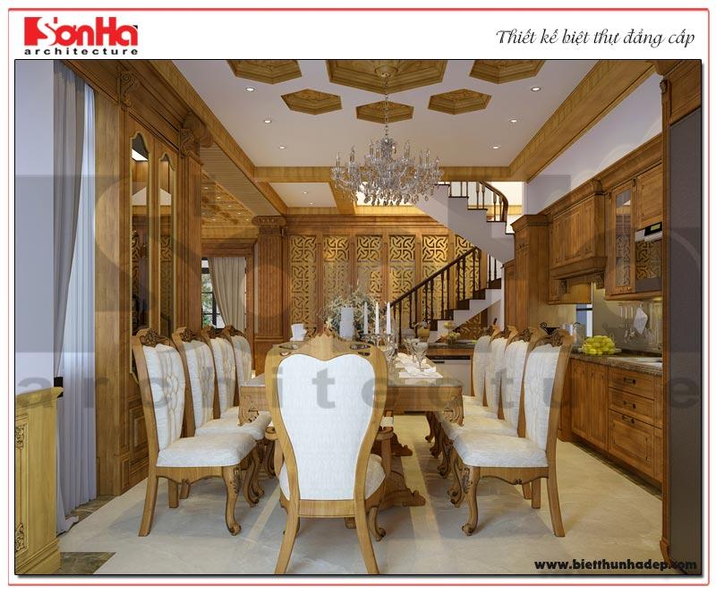 Với gam màu nâu gỗ trầm ấm căn phòng hứa hẹn sẽ mnag đến những bữa cơm sum vầy, tràn ngập hạn phúc hco cả gia đình