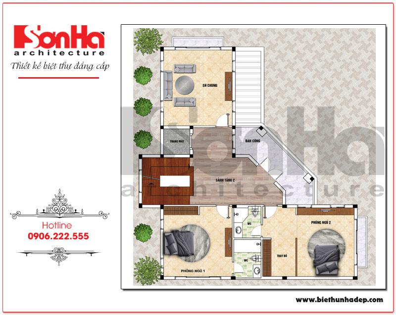 Mặt bằng công năng tầng 2 biệt thự tân cổ điển mái dốc 4 tầng tại Hải Phòng