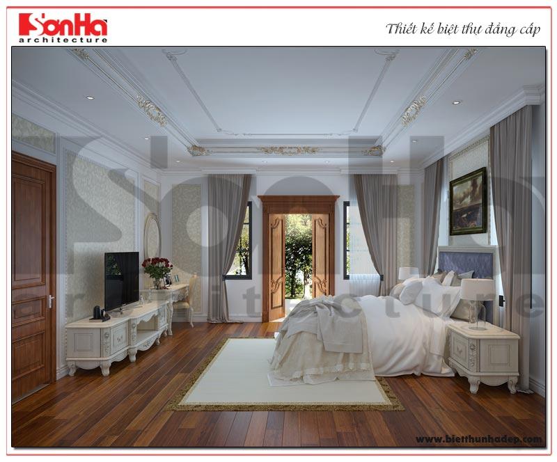 Mẫu phòng ngủ được thiết kế hài hòa trong một không gian rộng, thoáng