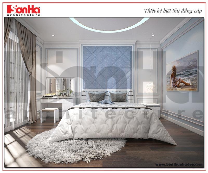 Thiết kế nội thất phòng ngủ dành cho con gái gia chủ với gam màu nhẹ nhàng, ấm áp