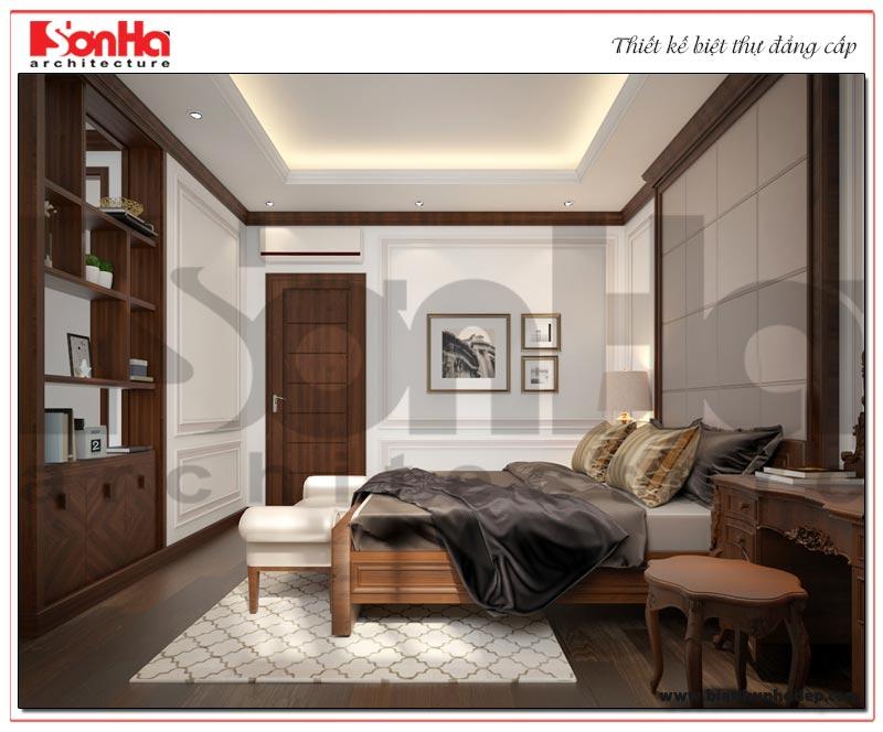 Không gian phòng ngủ được bài trí nội thất đúng phong thủy nhưng vẫn đảm bảo yêu cầu của gia chủ