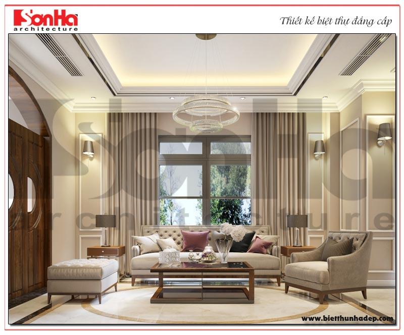 Không gian phòng khách biệt thự song lập với thiết kế nội thất tân cổ điển đẹp nhẹ nhàng
