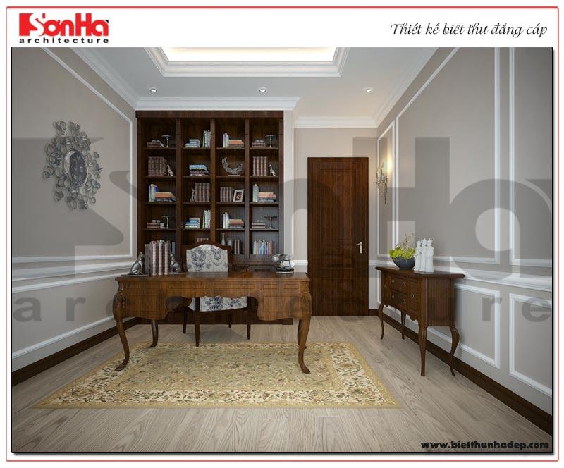 Mẫu thiết kế nội thất phòng làm việc biệt thự tân cổ điển 3 tầng