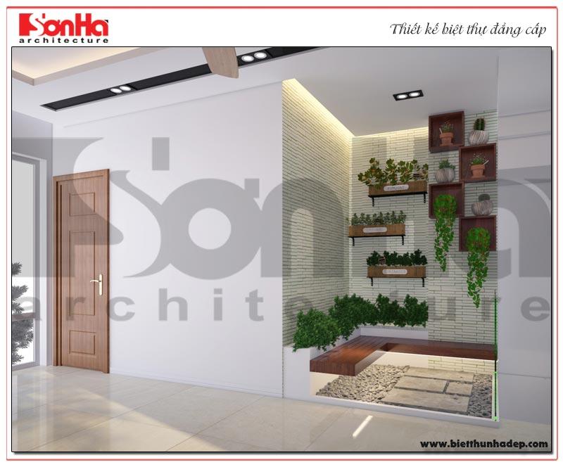 Thiết kế tiểu cảnh sân vườn nhỏ xinh của tòa nhà văn phòng kết hợp nhà ở gia đình tại KĐT WaterFront City Hải Phòng