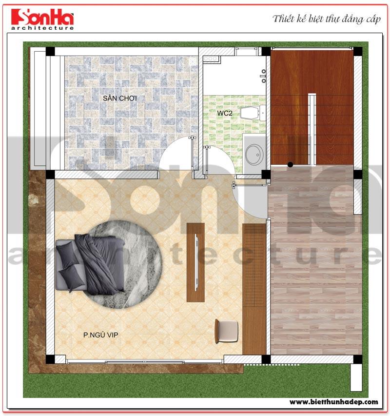 Chi tiết quy hoạch công năng tầng 2 biệt thự hiện đại mini diện tích sàn 64m2 tại Hải Phòng