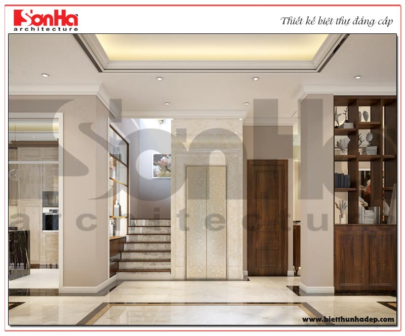 Mẫu thiết kế sảnh thanh biệt thự tân cổ điển được chủ đầu tư đánh cao