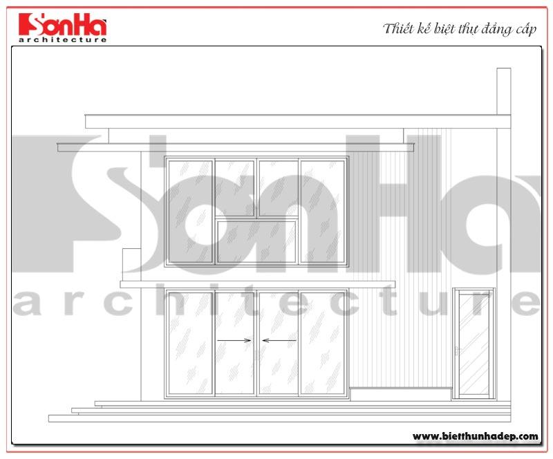 Bản vẽ mặt trục đứng 1-3 biệt thự mini hiện đại mặt tiền 8m tại Hải Phòng