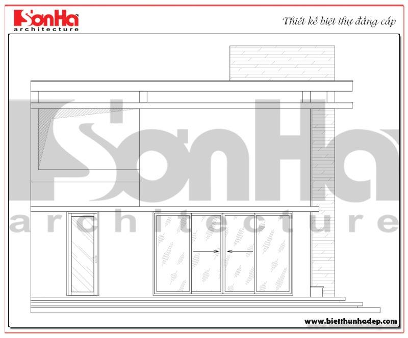 Bản vẽ chi tiết mặt truc đứng c-a biệt thự hiện đại mini quy mô 2 tầng tại Hải Phòng