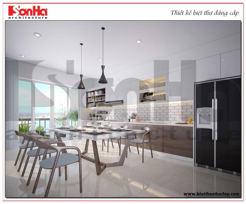Không gian phòng bếp ăn được thiết kế với nội thất hiện đại và tiện nghi nhất cho người sử dụng