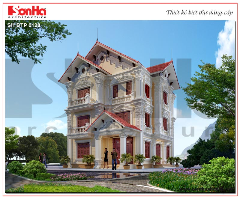 Mẫu biệt thự tân cổ điển pháp 3 tầng sang trọng có thiết kế sân vườn tuyệt đẹp tại Bắc Ninh