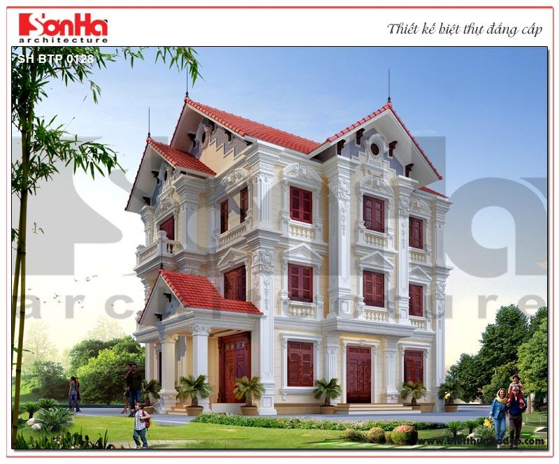 Phối cảnh tổng thể kiến trúc biệt thự tân cổ điển 3 tầng sang trọng và kiều diễm với ý tưởng thiết kế đăng đối, mạch lạc được chủ đầu tư đánh giá cao.
