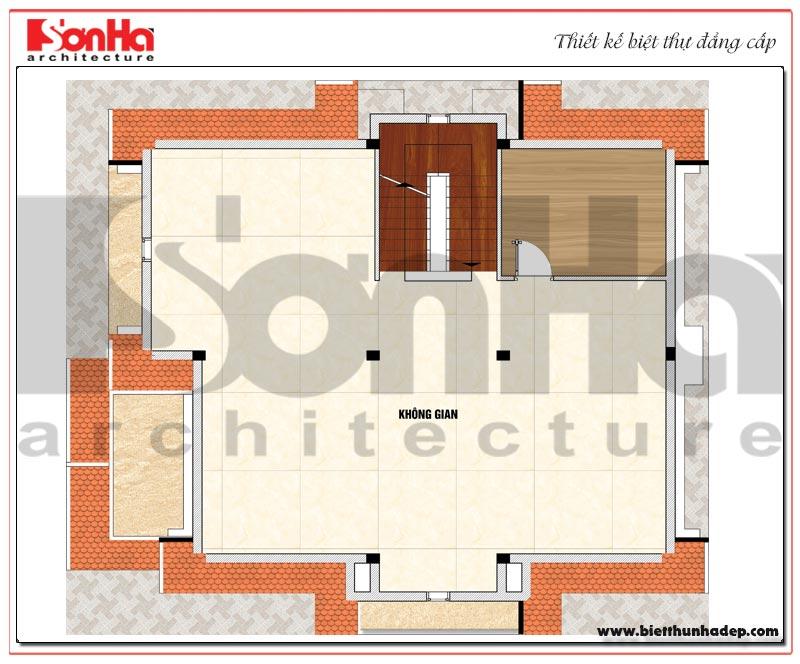 Bản vẽ chi tiết mặt bằng công năng tầng áp mái biệt thự tân cổ điển Pháp đẹp tại Bắc Ninh