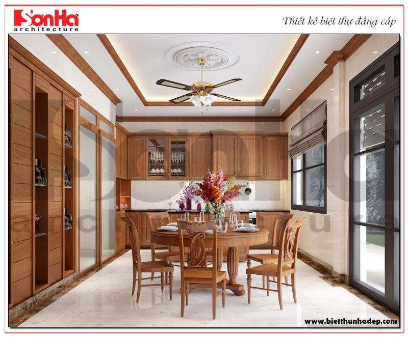 Mẫu nội thất phòng ăn theo phong cách tân cổ điển đem đến những giờ phút sum vầy ấm cúng cho gia chủ