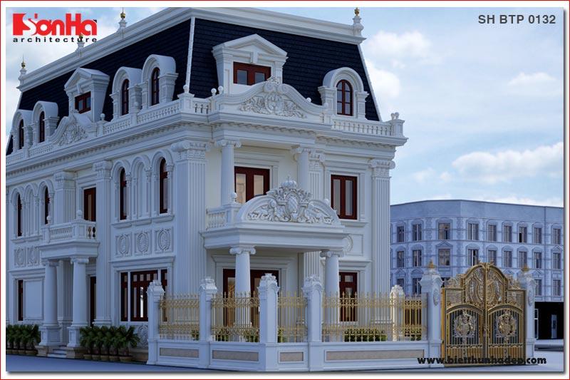 BÌA Thiết kế biệt thự tân cổ điển 3 tầng đẹp tại hà nội sh btp 0132