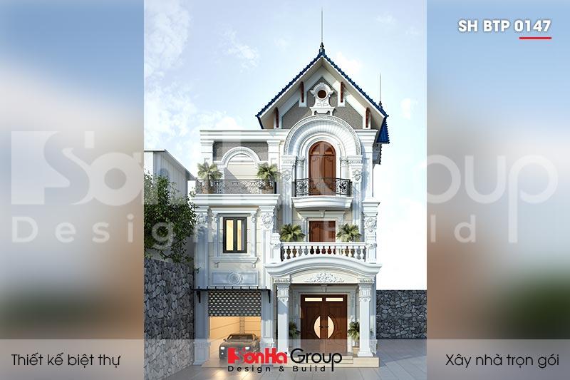 BÌA kiến trúc biệt thự 3 tầng mặt tiền12m kiểu tân cổ điển tại ninh bình sh btp 0147