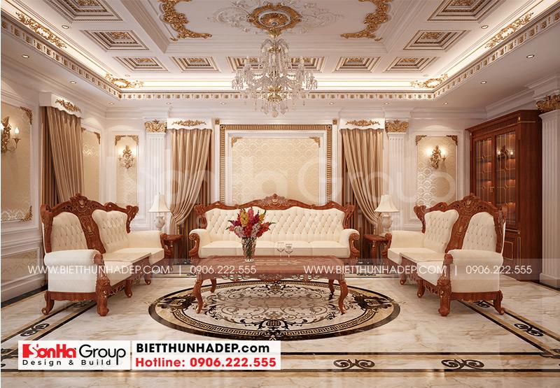 Phương án thiết kế nội thất phòng sinh hoạt chung của biệt thự tân cổ điển 3 tầng tại An Giang