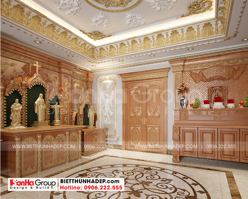 Phòng thờ biệt thự tân cổ điển được bố trí ở căn phòng riêng biệt hết sức trang trọng