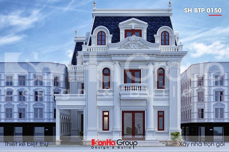BÌA thiết kế biệt thự 3 tầng mặt tiền 12m kiểu tân cổ điển tại an giang sh btp 0150