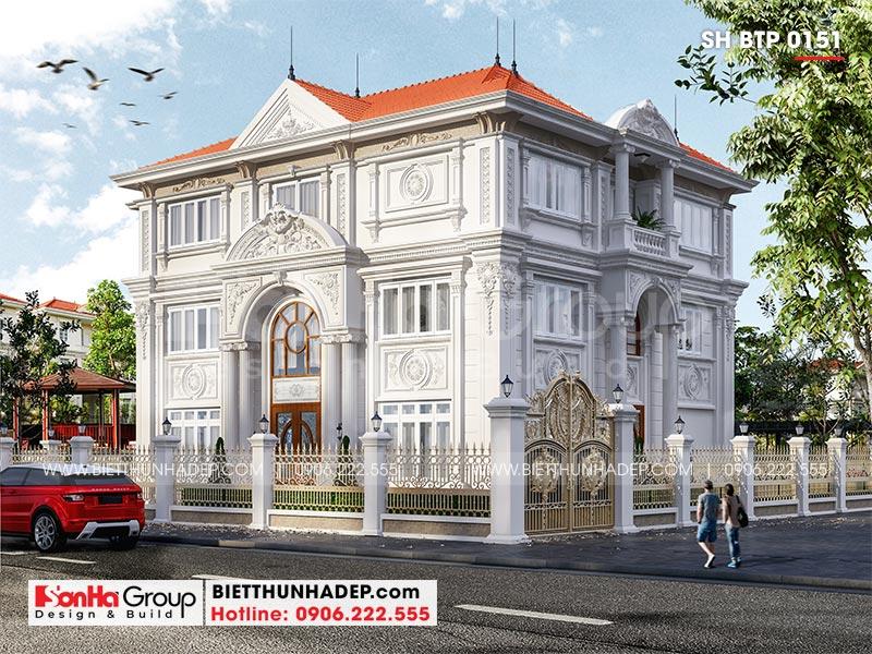 Thiết kế biệt thự tân cổ điển 3 tầng 2 mặt tiền diện tích 14,3m x 12,8m tại Hà Nội