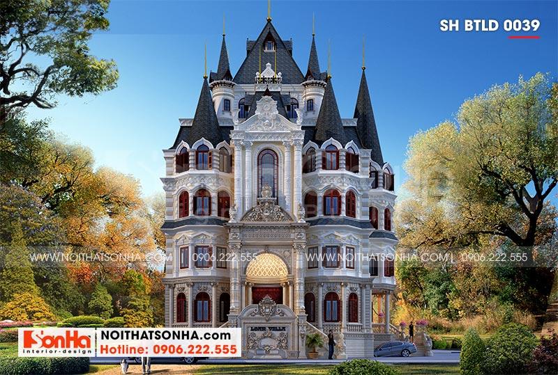 Chiêm ngưỡng kiến trúc mặt tiền chính ngôi biệt thự lâu đài 4 tầng nguy nga tại Hà Nội