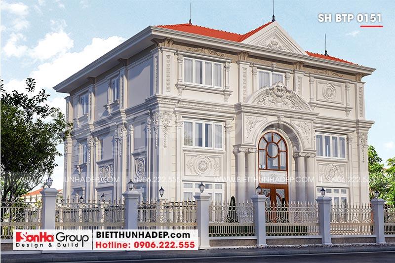 Phối cảnh kiến trúc mặt tiền của mẫu biệt thự 3 tầng tân cổ điển tại Hà Nội