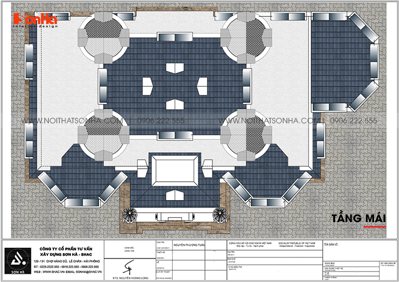 Bản vẽ chi tiết công năng tầng mái biệt thự lâu đài cổ điển tại Hà Nội
