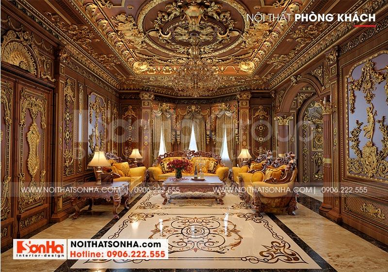 Phòng khách trang trọng của biệt thự lâu đài với thiết kế nội thất cổ điển sử dụng vật liệu gỗ tự nhiên cao cấp, bề thế