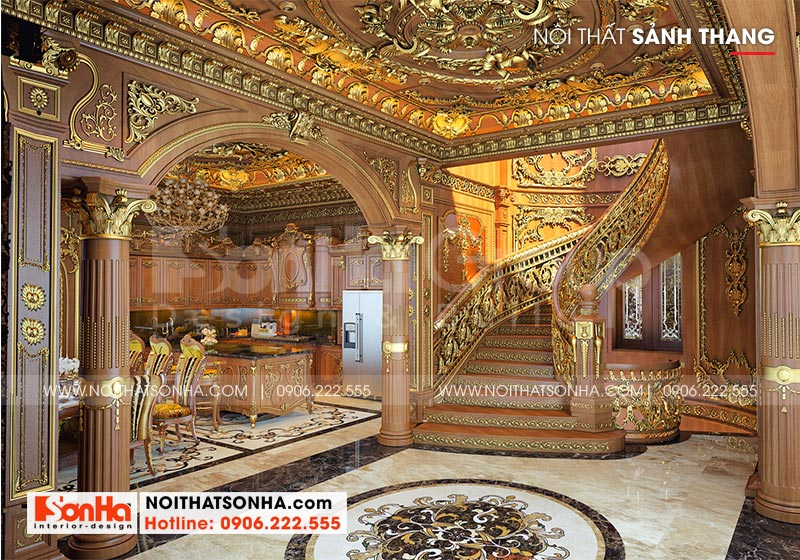Thiết kế sảnh thang tầng 1 ngôi biệt thự lâu đài xa hoa tại Hà Nội